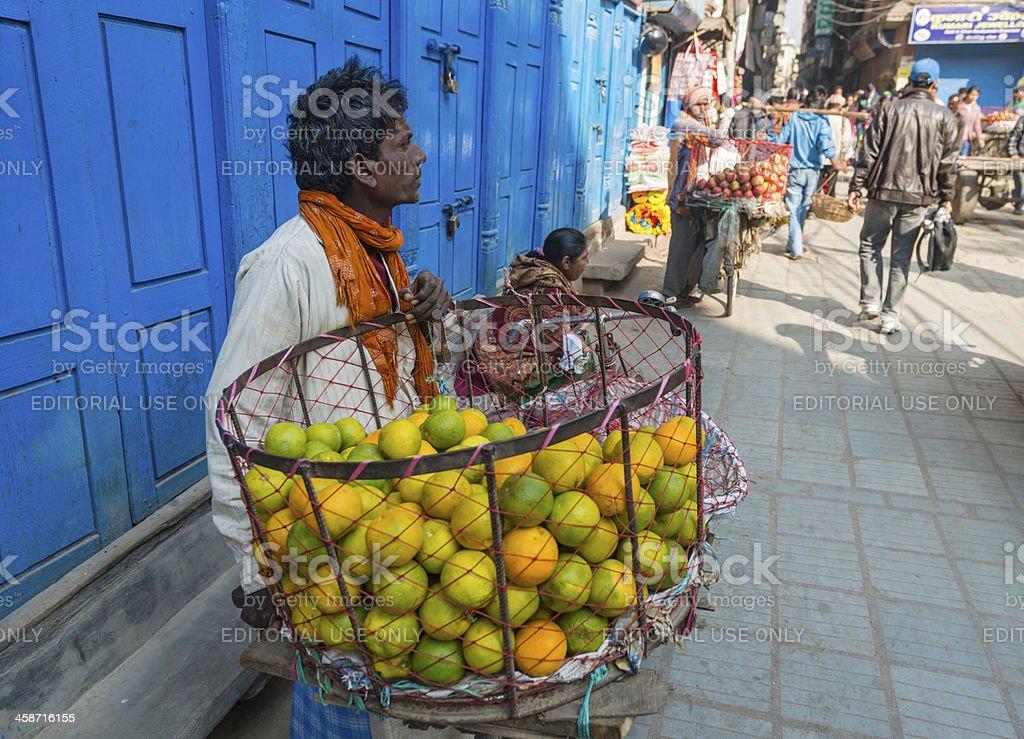 Orange seller in Thamel Kathmandu Nepal stock photo