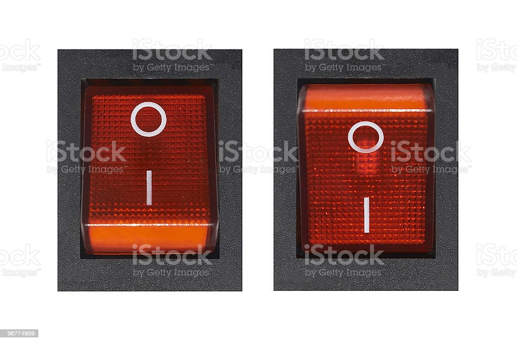 Orange set of on and off power switches royalty-free stock photo