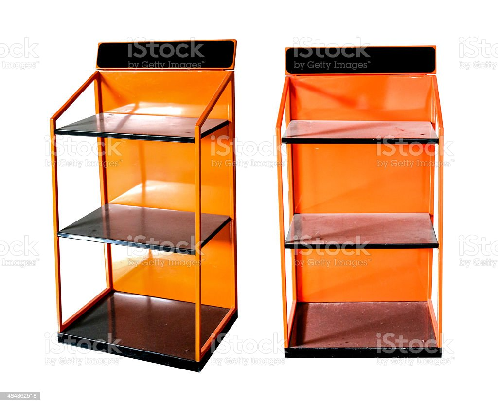 Orange shelves stainless royalty-free stock photo