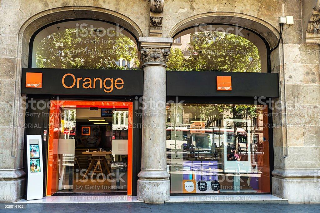 Orange shop in Barcelona stock photo