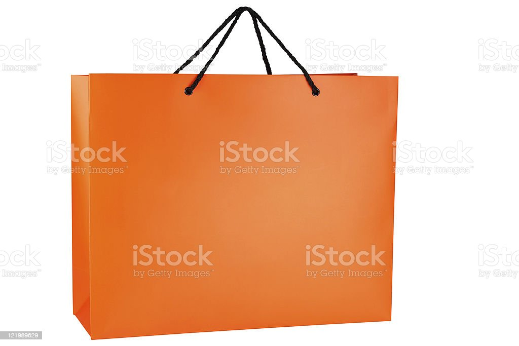 Orange Shopping bag with black handles raised for carrying royalty-free stock photo
