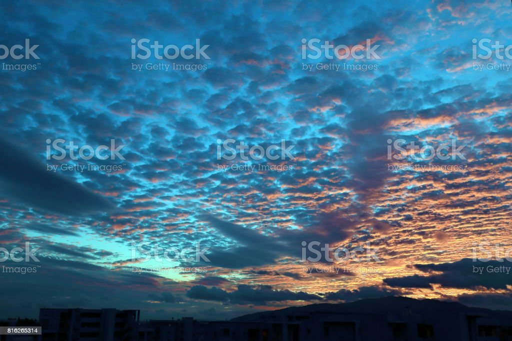 orange sky after sunset at Mt. Rokko stock photo