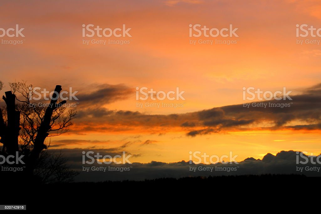 Orange sky at night - sunset, Robin Hoods Bay, Fylingthorpe stock photo