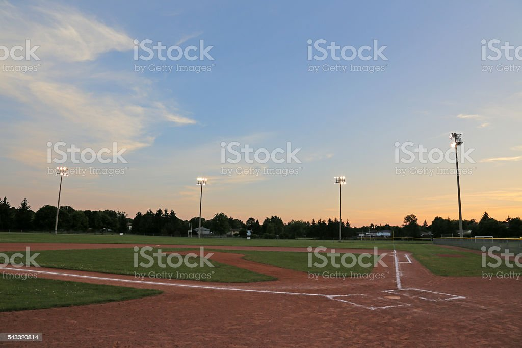 Orange Sky Ball Field stock photo