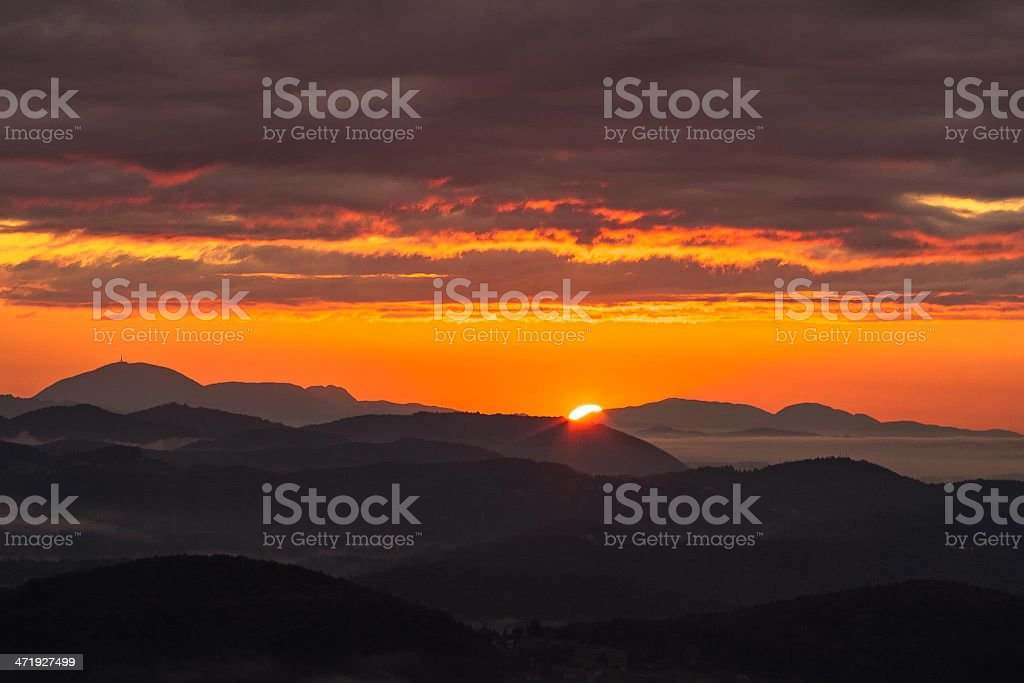 Orange sky during sunrise royalty-free stock photo