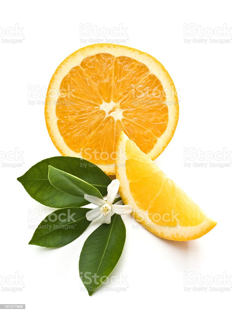 Orange slice and leaves stock photo