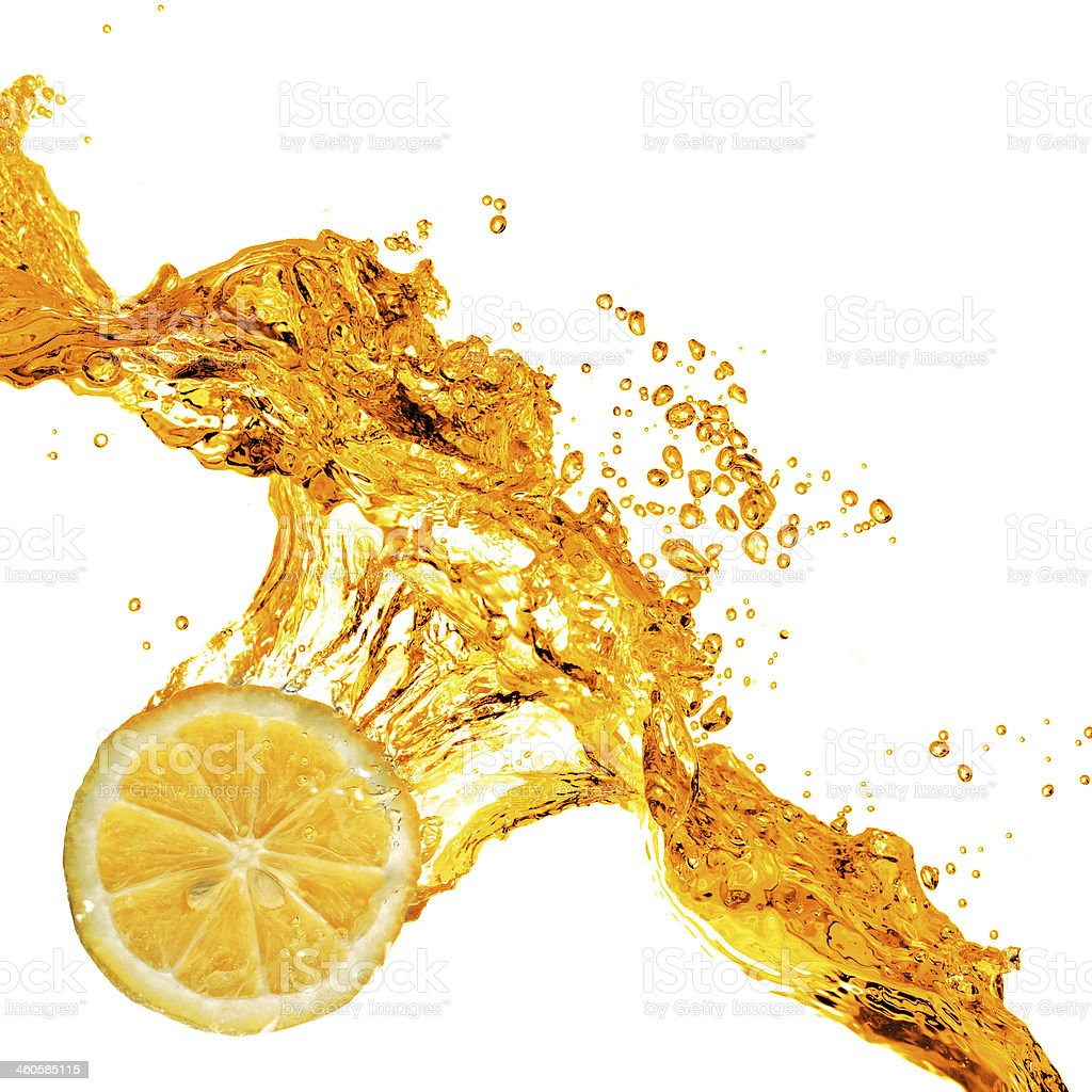 orange slice and splash of juice isolated on white stock photo