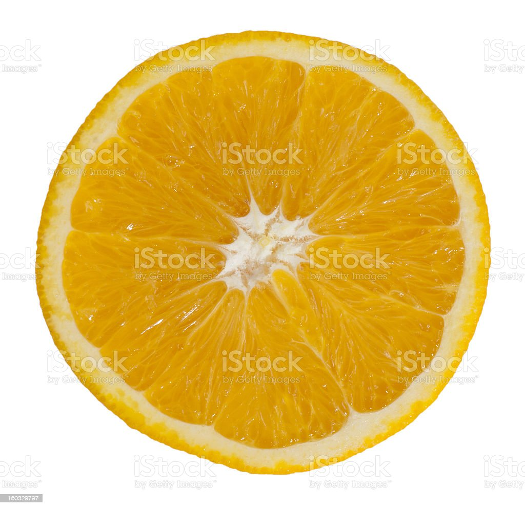Orange slice in front of white background royalty-free stock photo