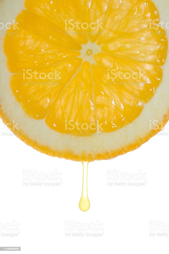 Orange slice with a droplet stock photo