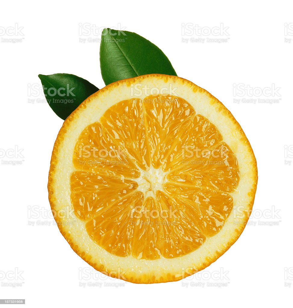 Orange Slice with Leafs stock photo