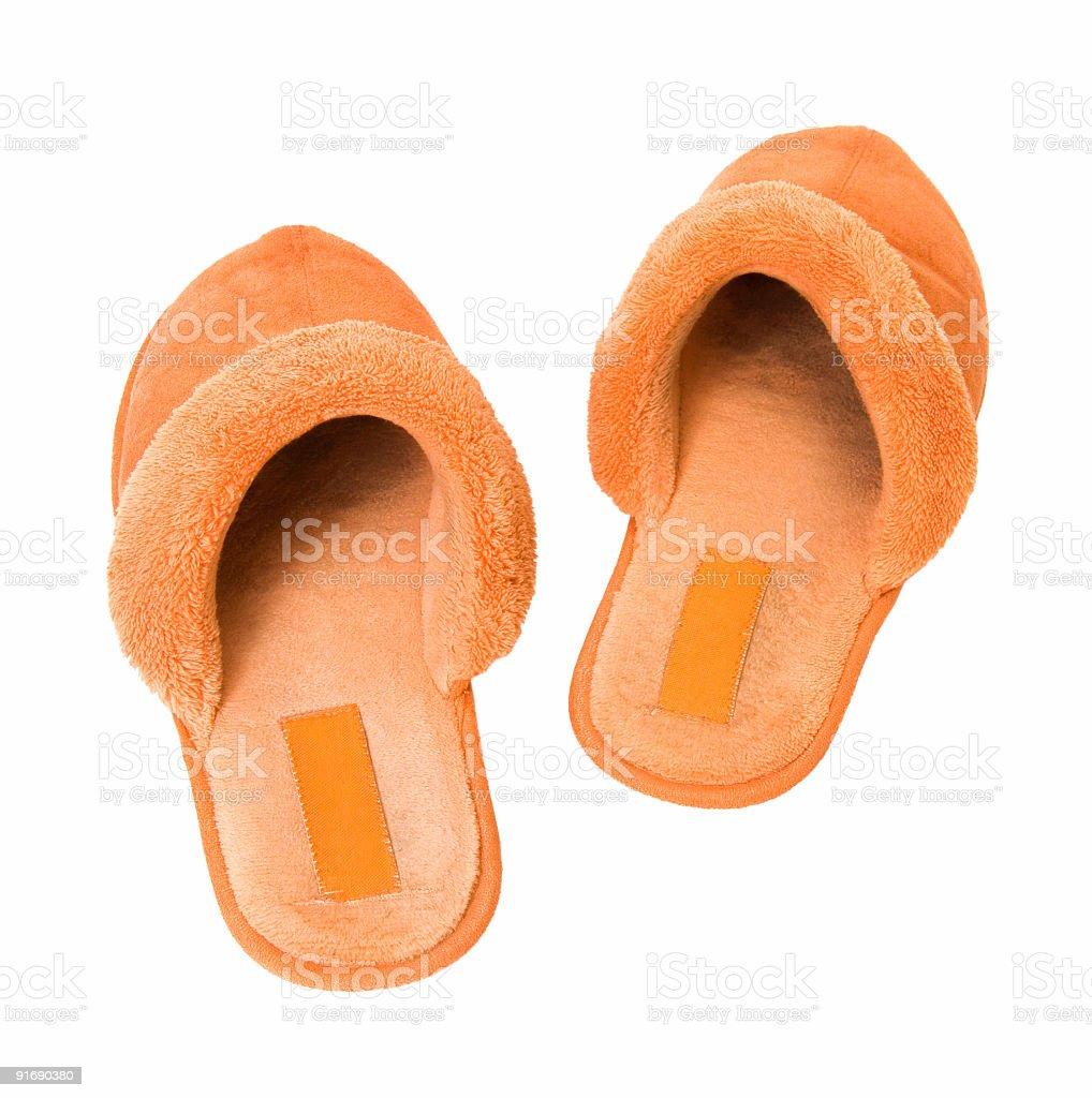Orange slippers royalty-free stock photo