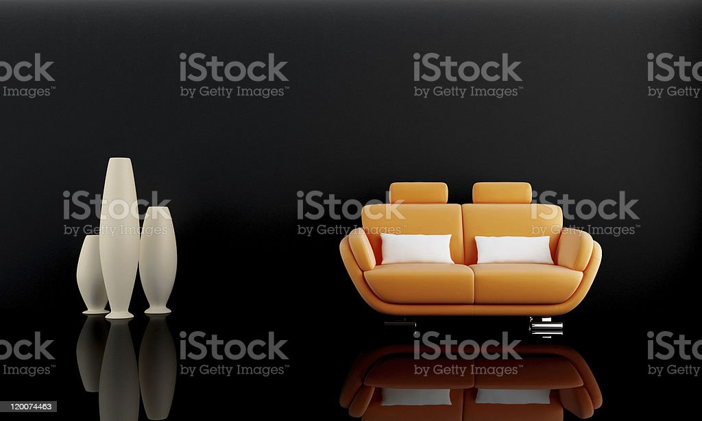 Orange sofa in dark room royalty-free stock photo