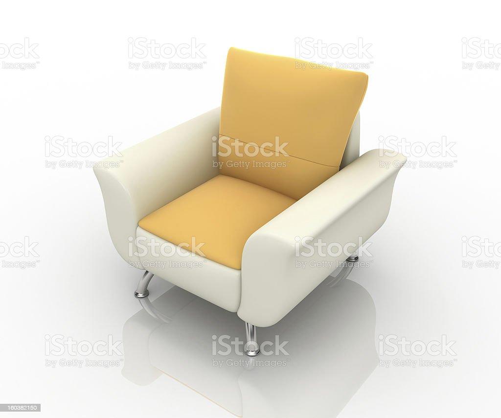 orange sofa-isolated on white background royalty-free stock photo