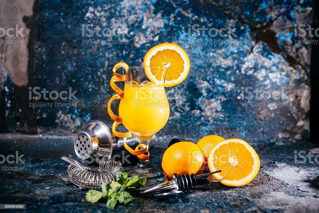 orange soft long drink, alcoholic beverage stock photo