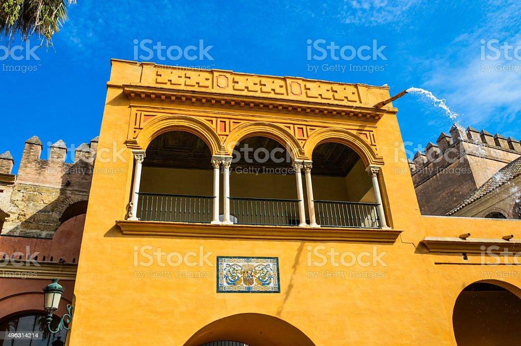 Orange Spanish building stock photo