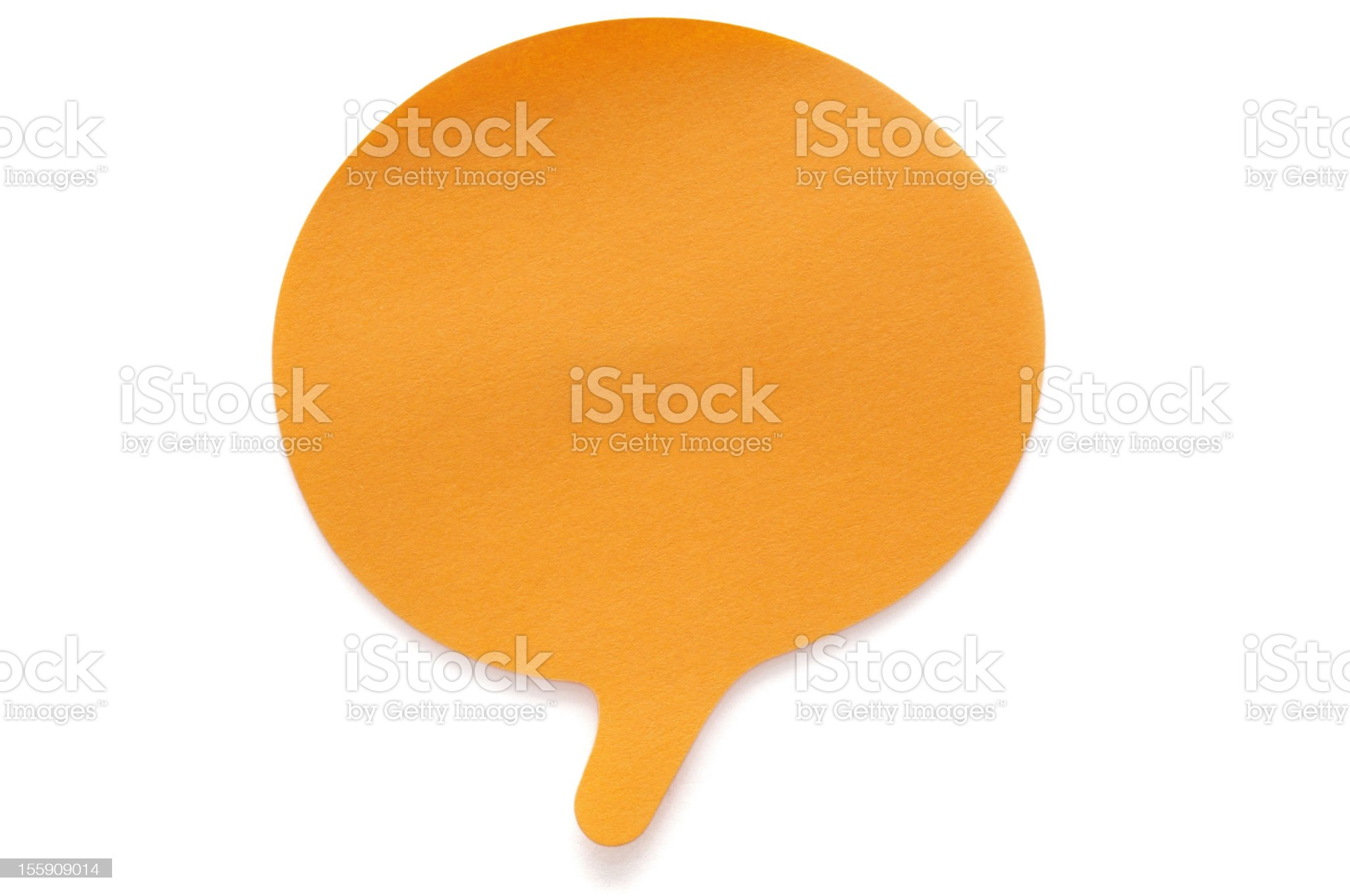 Orange speech bubble Post-it Note royalty-free stock photo