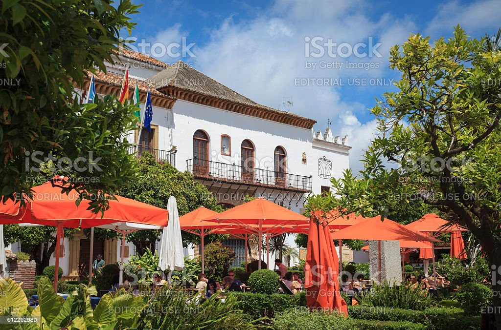 Orange Square in Marbella Old Town with bars and restaurants stock photo