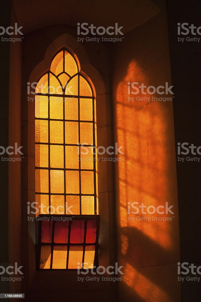 Orange Stained Glass Window stock photo