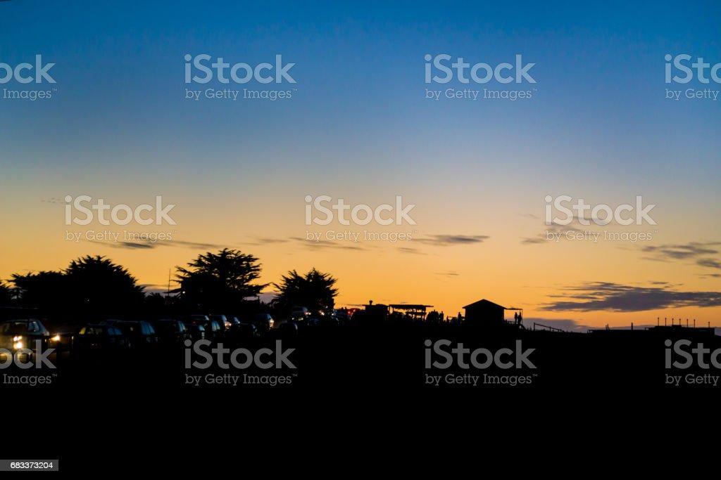 Orange sunset at the beach stock photo