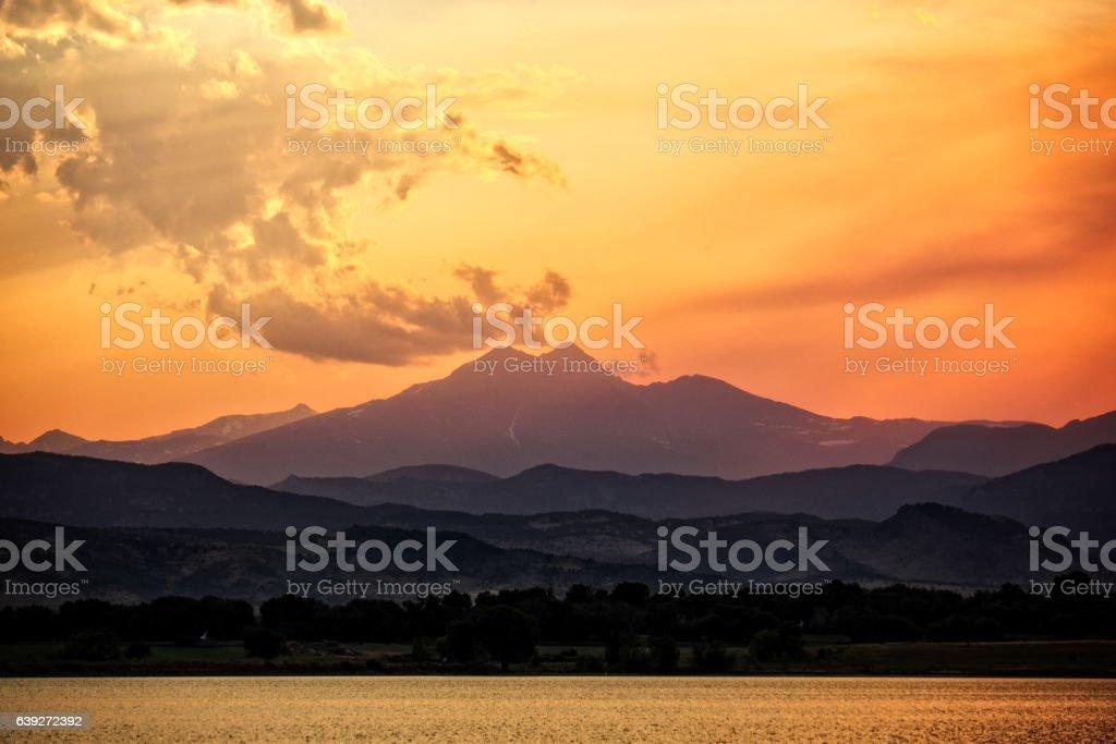 Orange Sunset at the Colorado Front Range stock photo