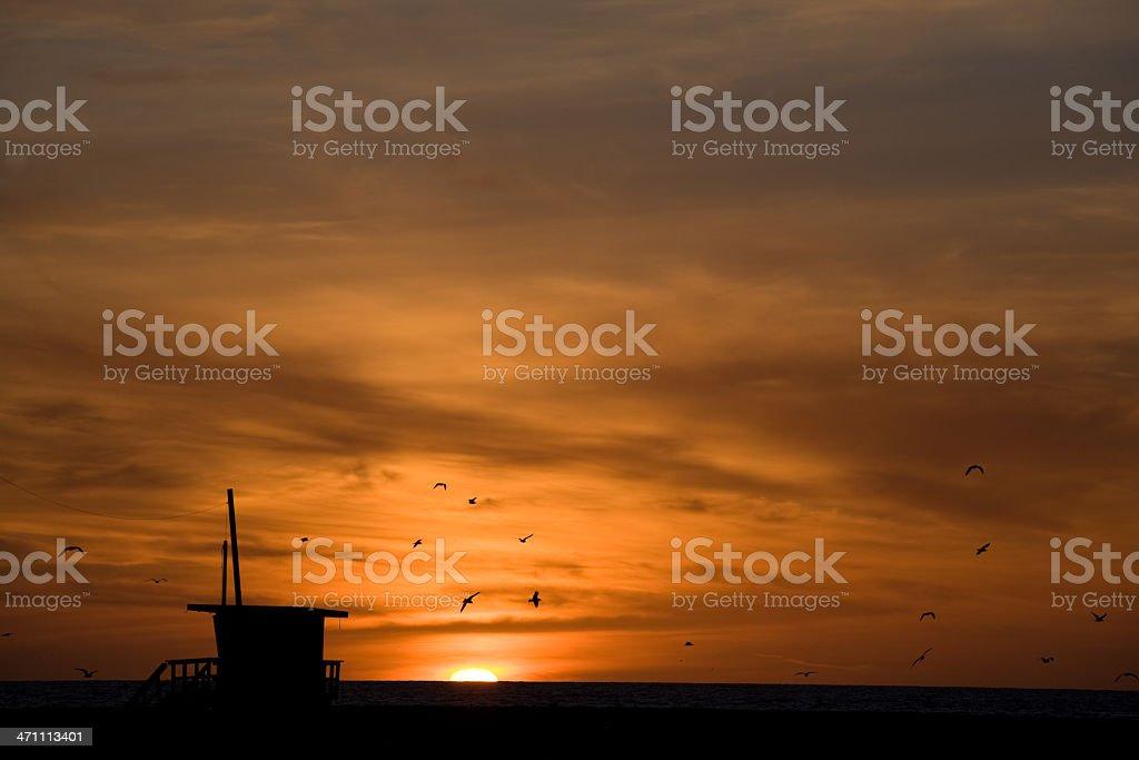 Orange Sunset in Santa Monica royalty-free stock photo