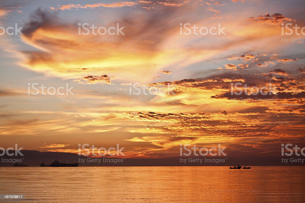 Orange sunset on the red sea(1) stock photo