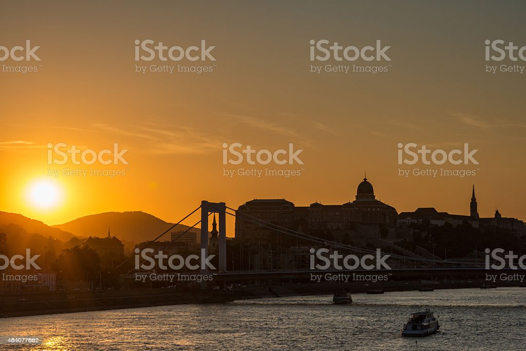 Orange sunset over the Danube, Budapest stock photo