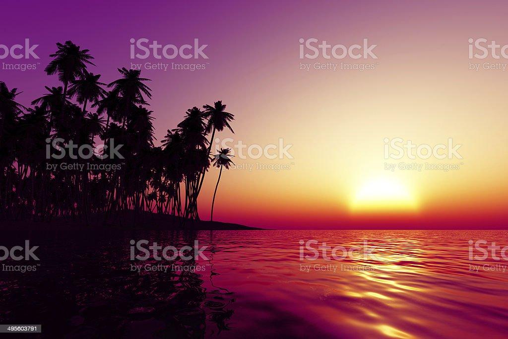orange sunset over tropic sea stock photo