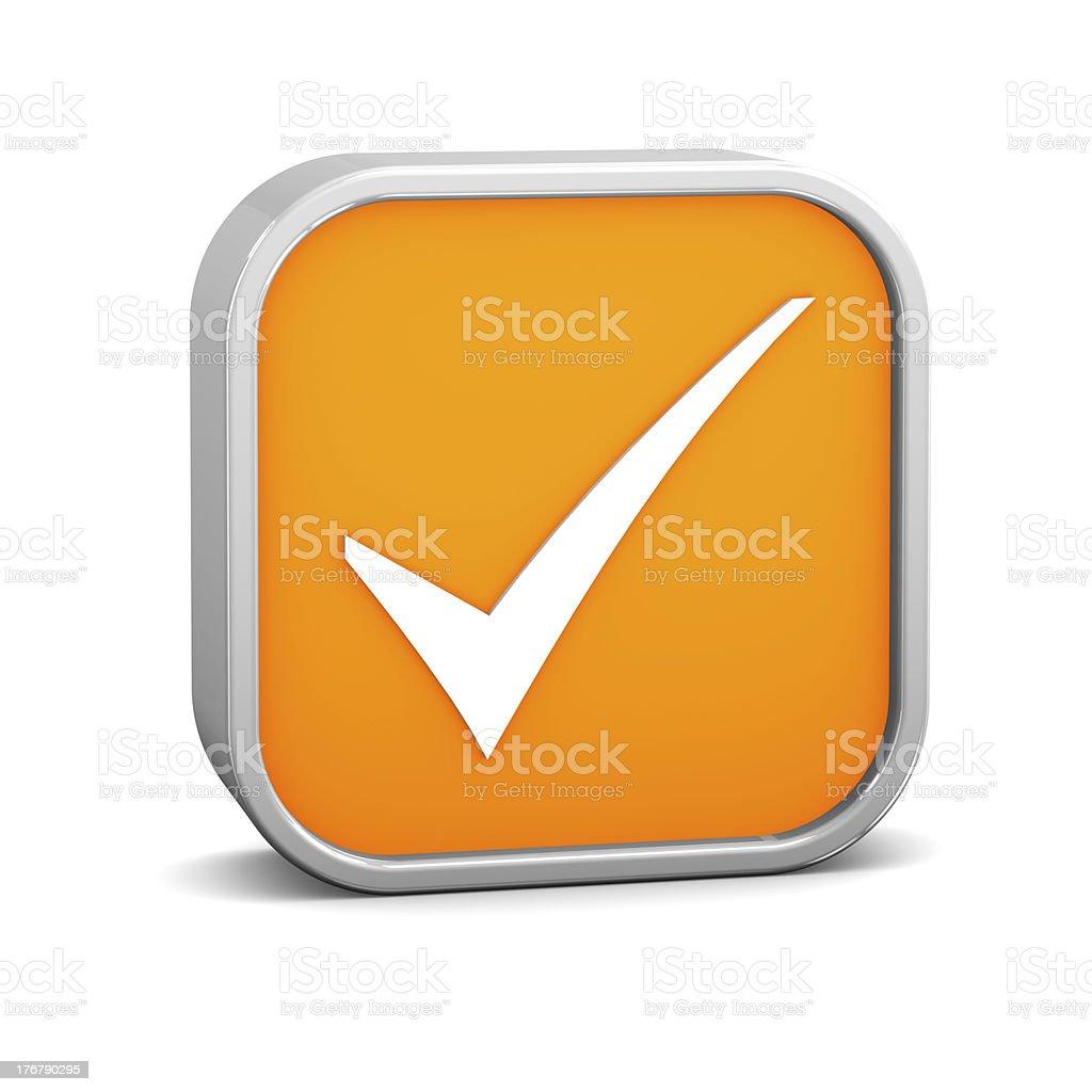 Orange Tick Sign royalty-free stock photo