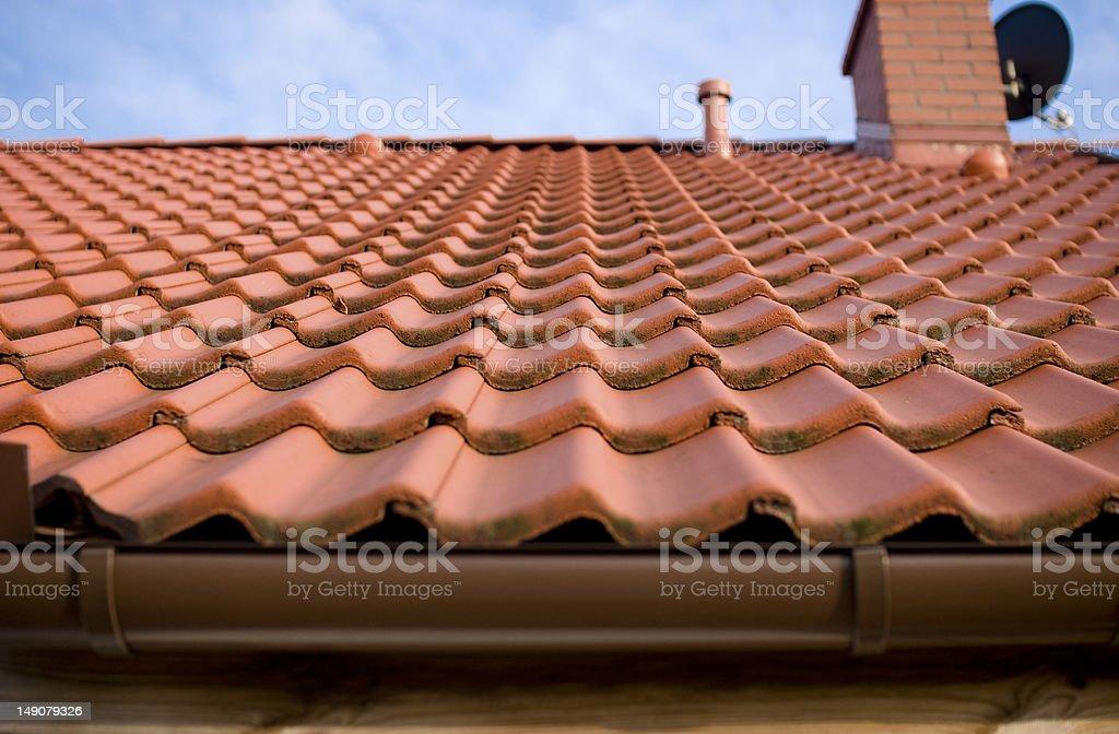 Orange tiles on the roof stock photo
