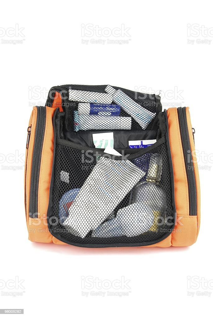 Orange toiletry bag stock photo