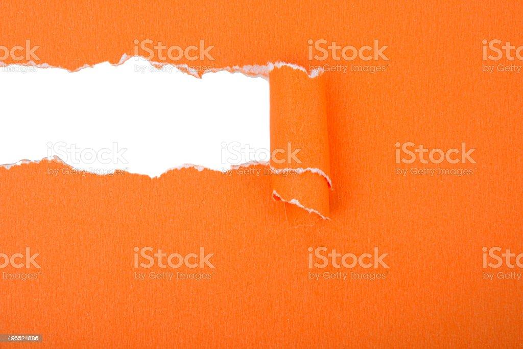 Orange Torn Paper stock photo