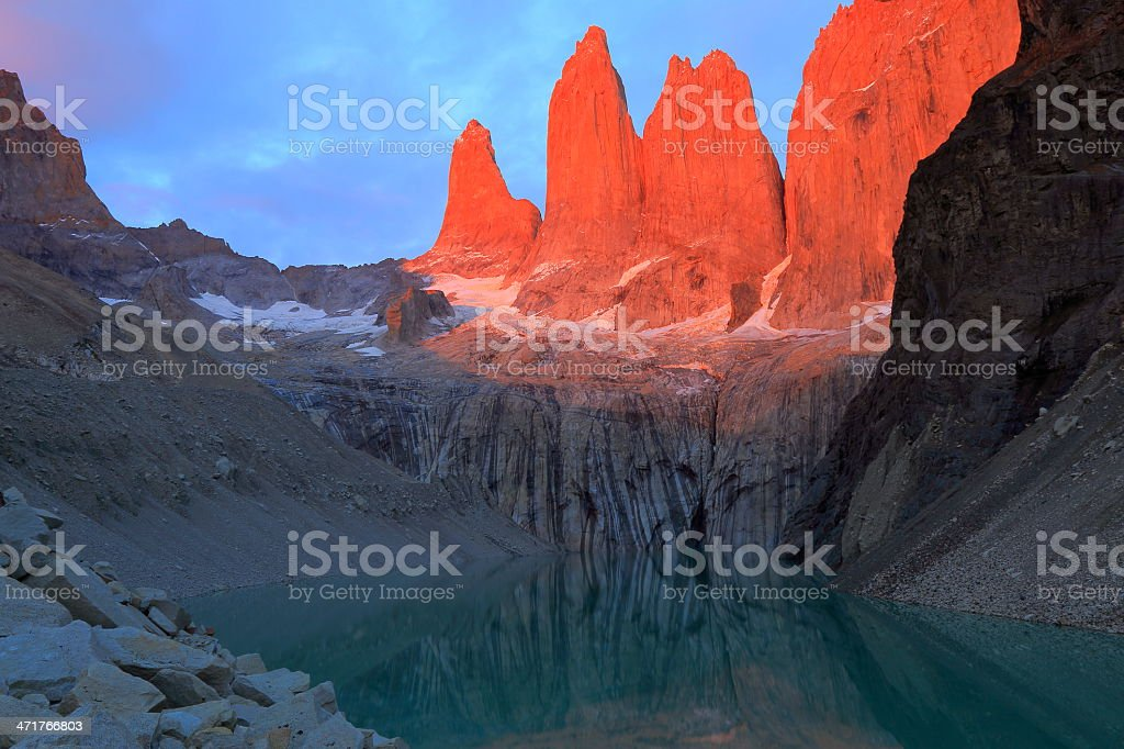 orange Torres Del Paine  at dramatic sunrise, Patagonia, South America royalty-free stock photo