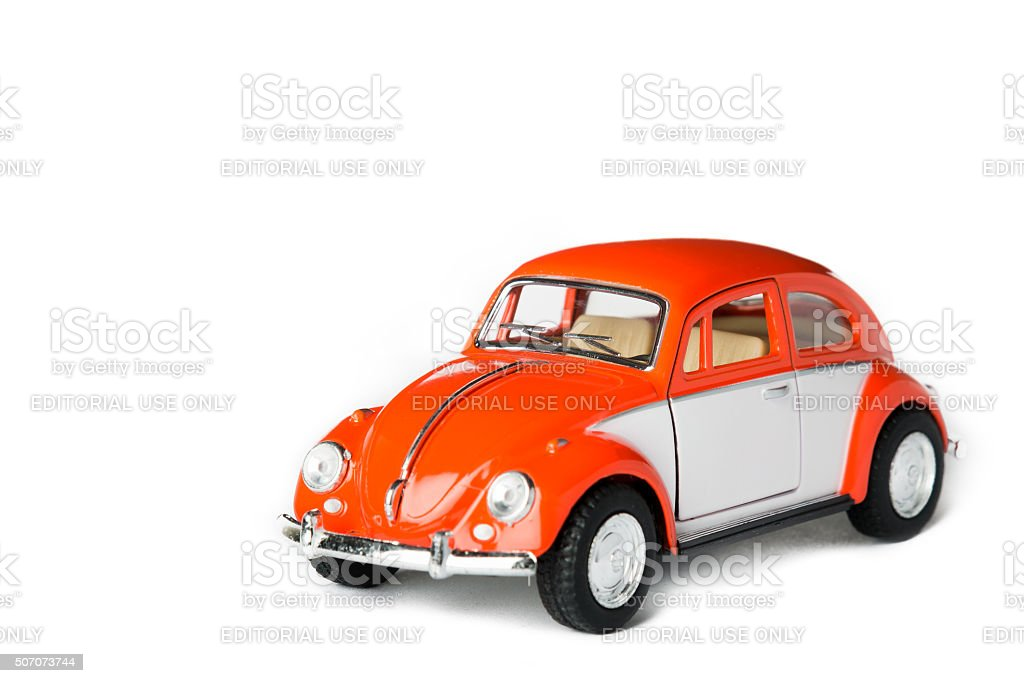 Orange toy car stock photo