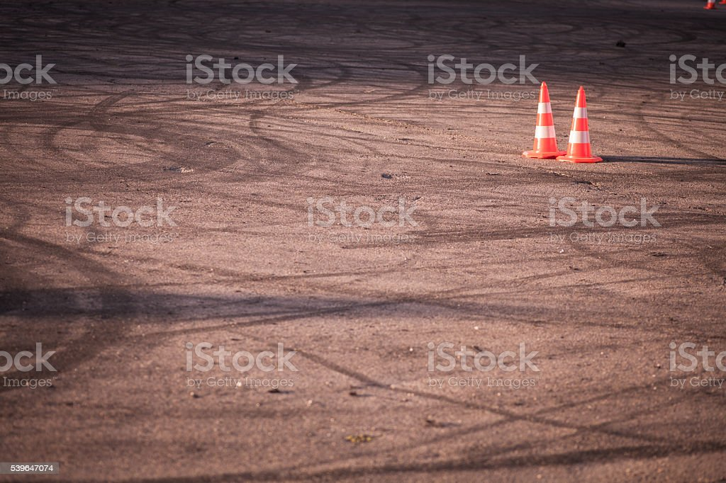 Orange traffic cone stock photo