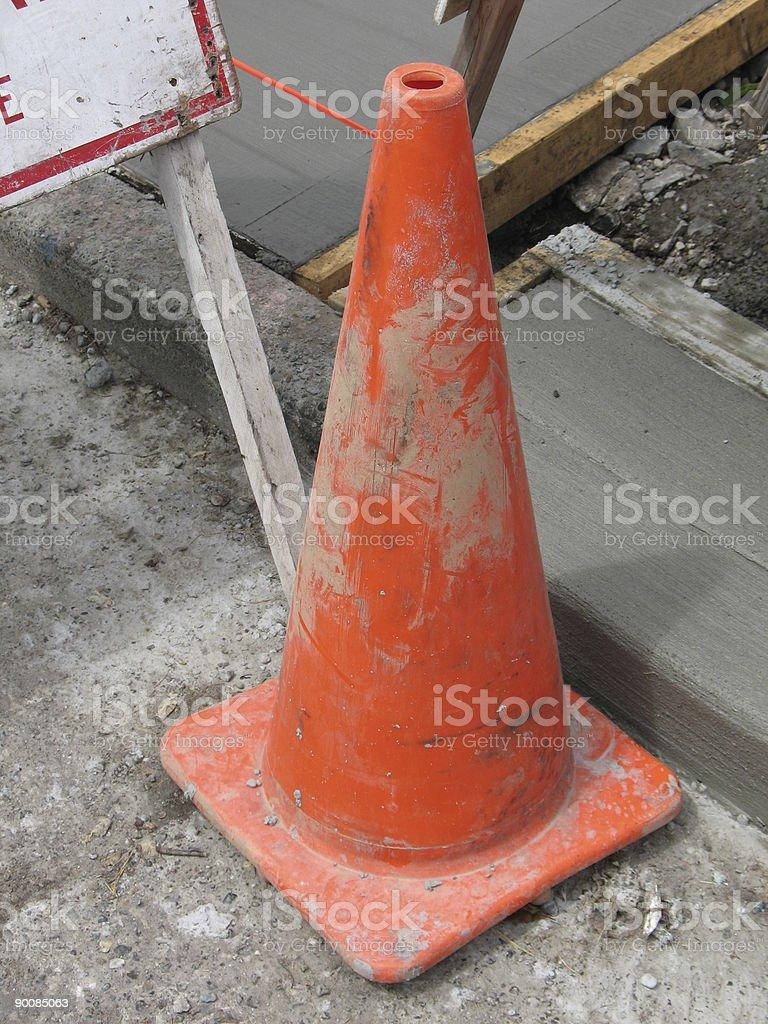 Orange traffic cone royalty-free stock photo