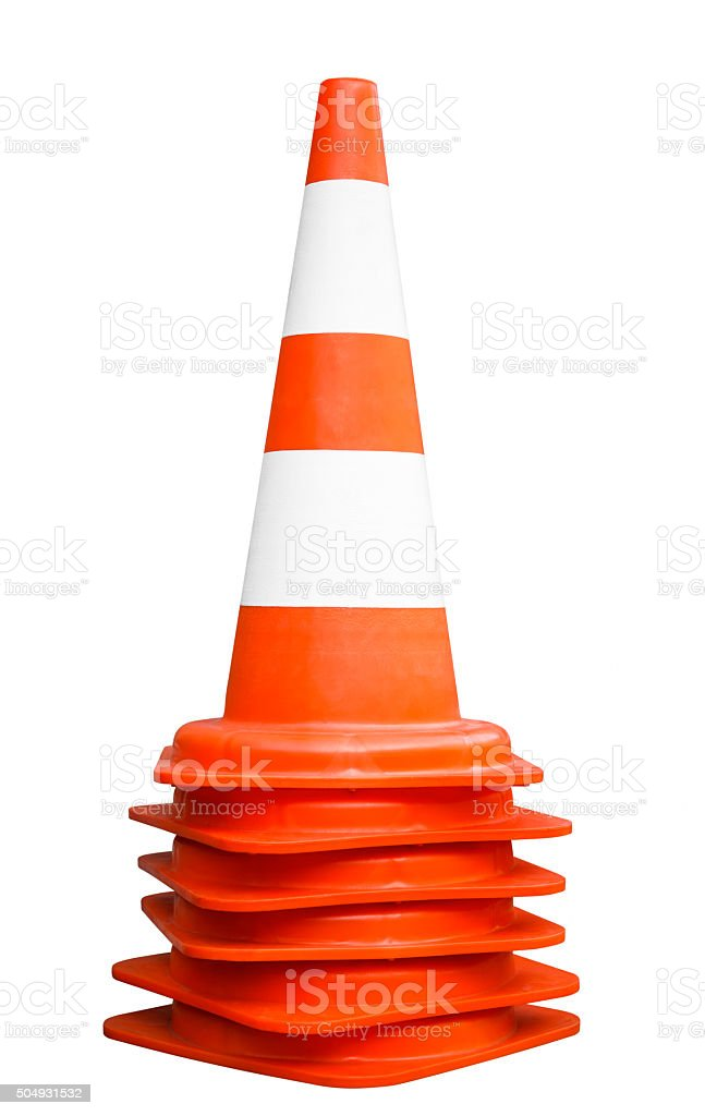 Orange traffic cones. Path included. stock photo