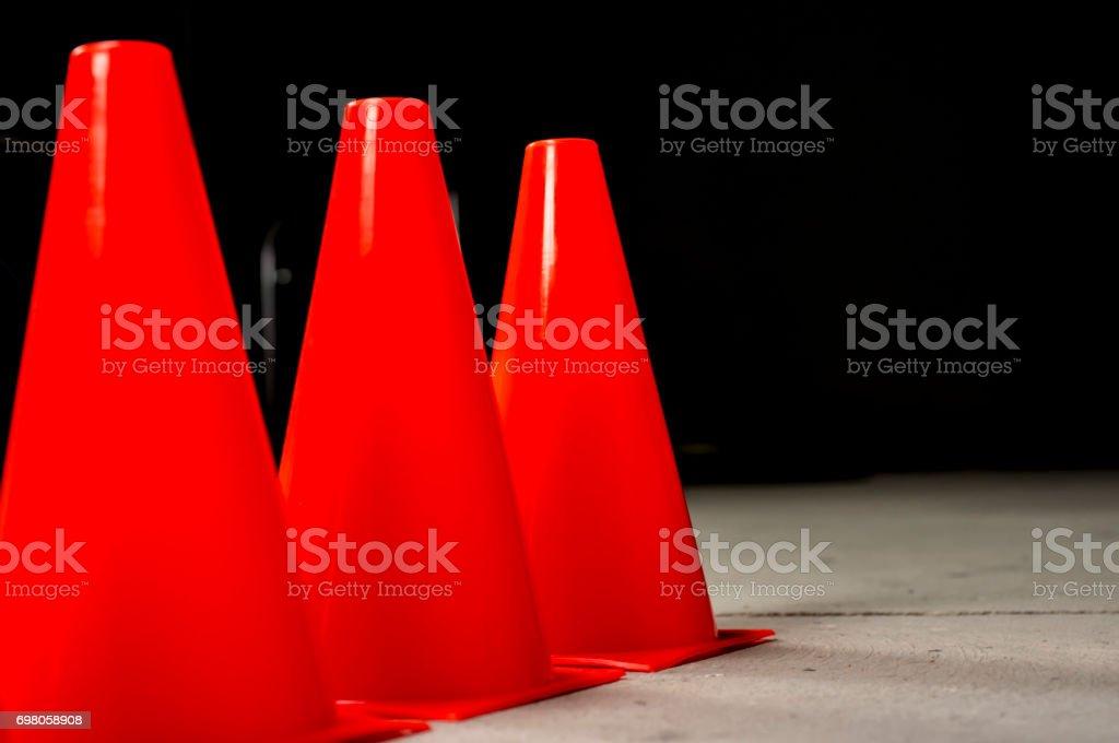 Orange traffic safety cones stock photo