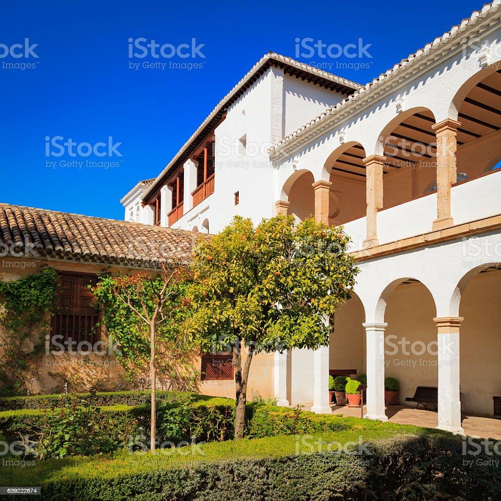 Orange trees in the Alhambra Palace gardens, Granada, Spain stock photo