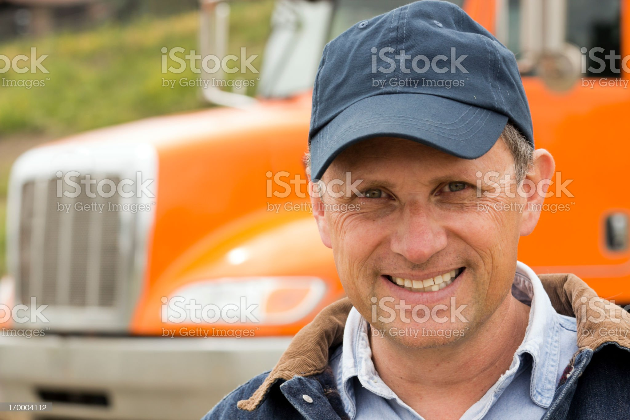 Orange Truck and Driver royalty-free stock photo