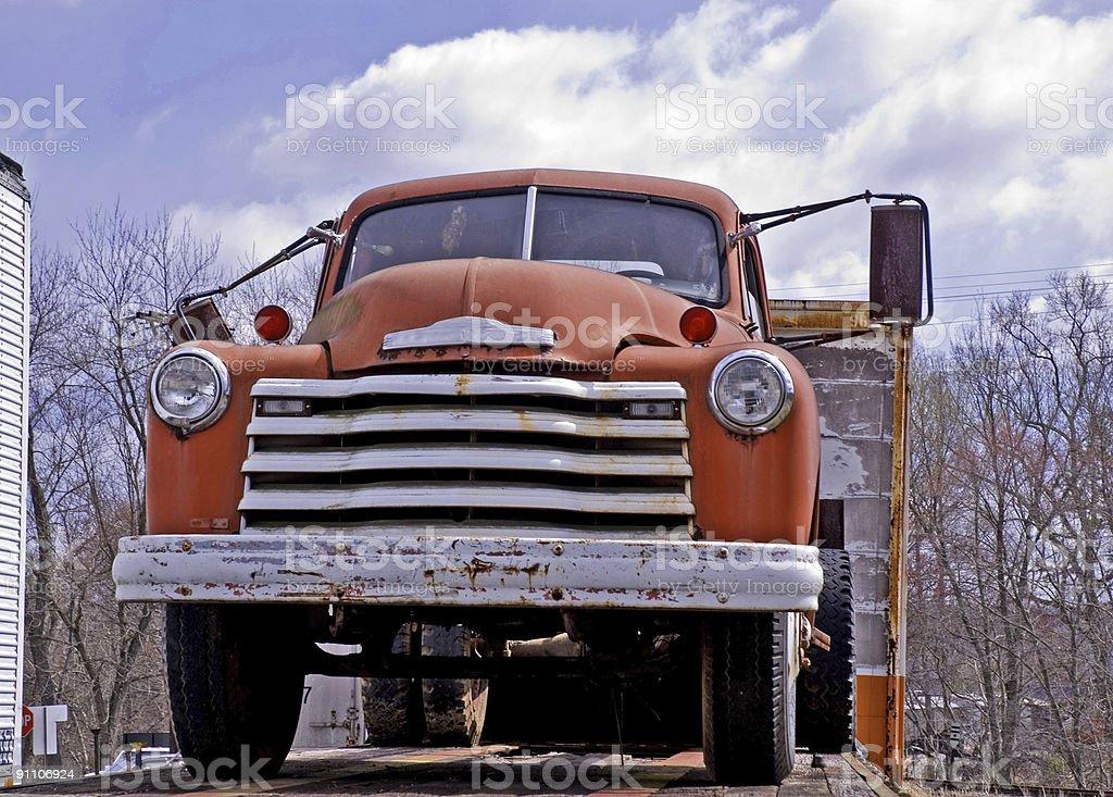 Orange Truck Front royalty-free stock photo