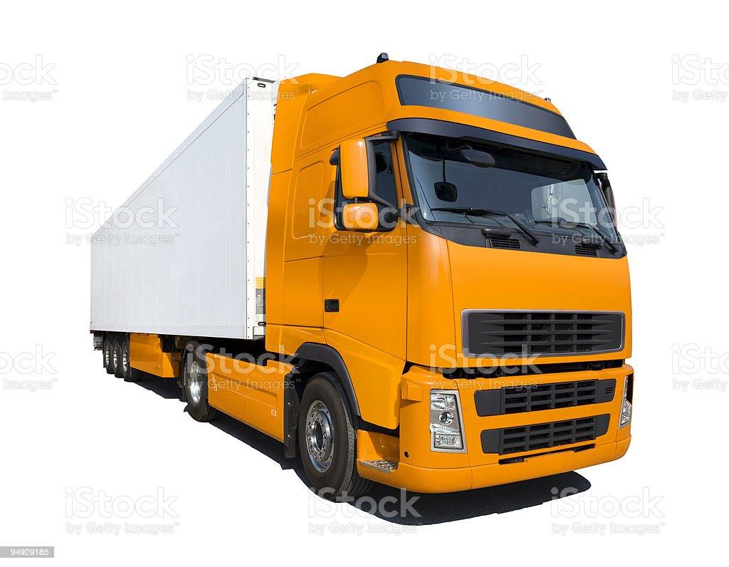 Orange truck isolated on white royalty-free stock photo