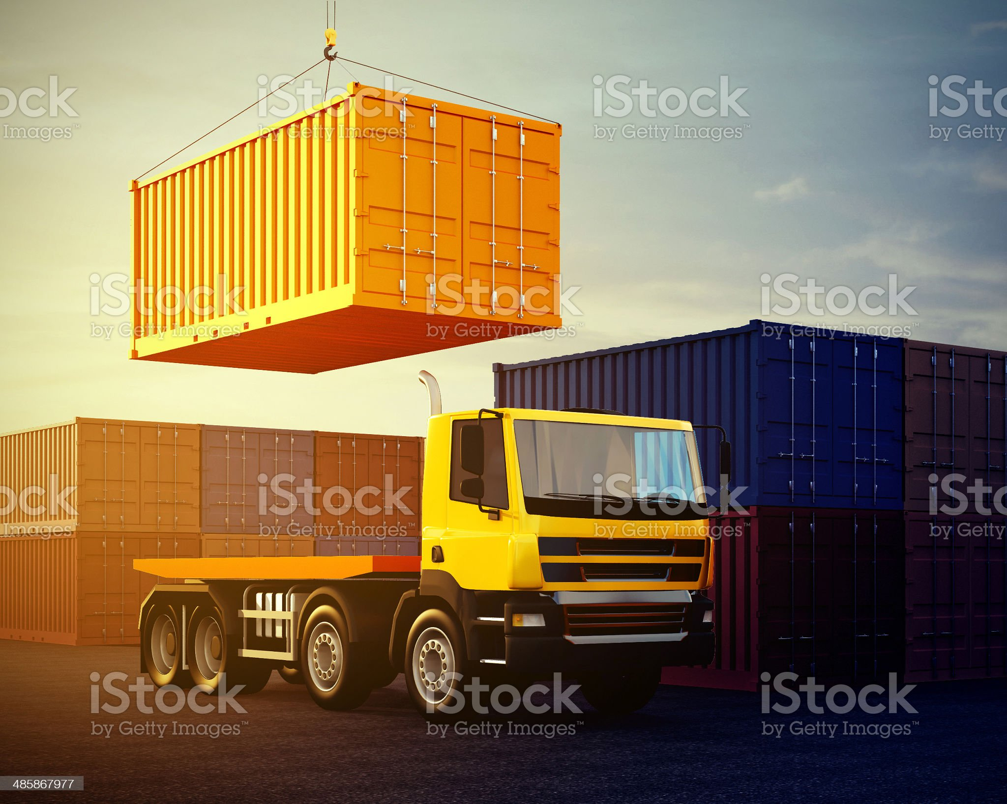 orange truck on background of stack of freight containers royalty-free stock photo