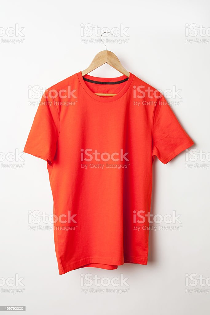Orange t-shirt template ready for your graphic design. stock photo