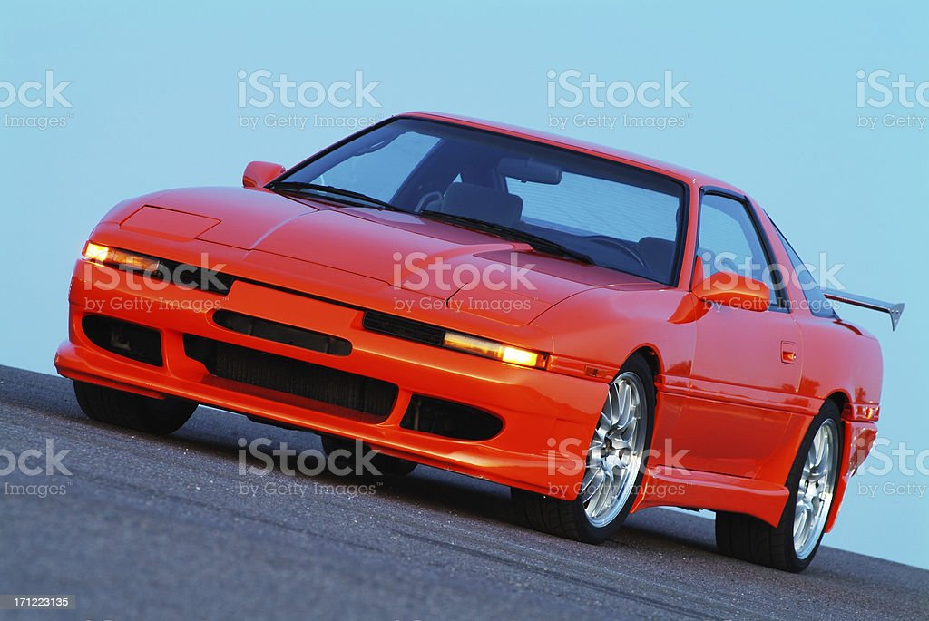 Orange Turbo Sports Car 2 royalty-free stock photo