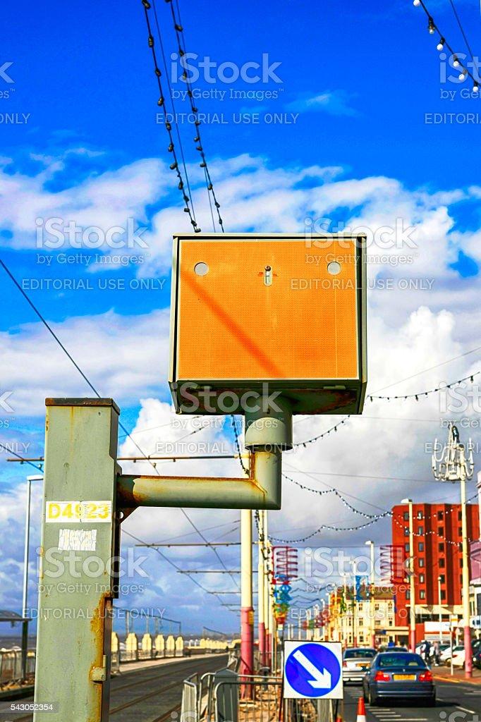 Orange vehicle Speed Camera in Blackpool, UK stock photo