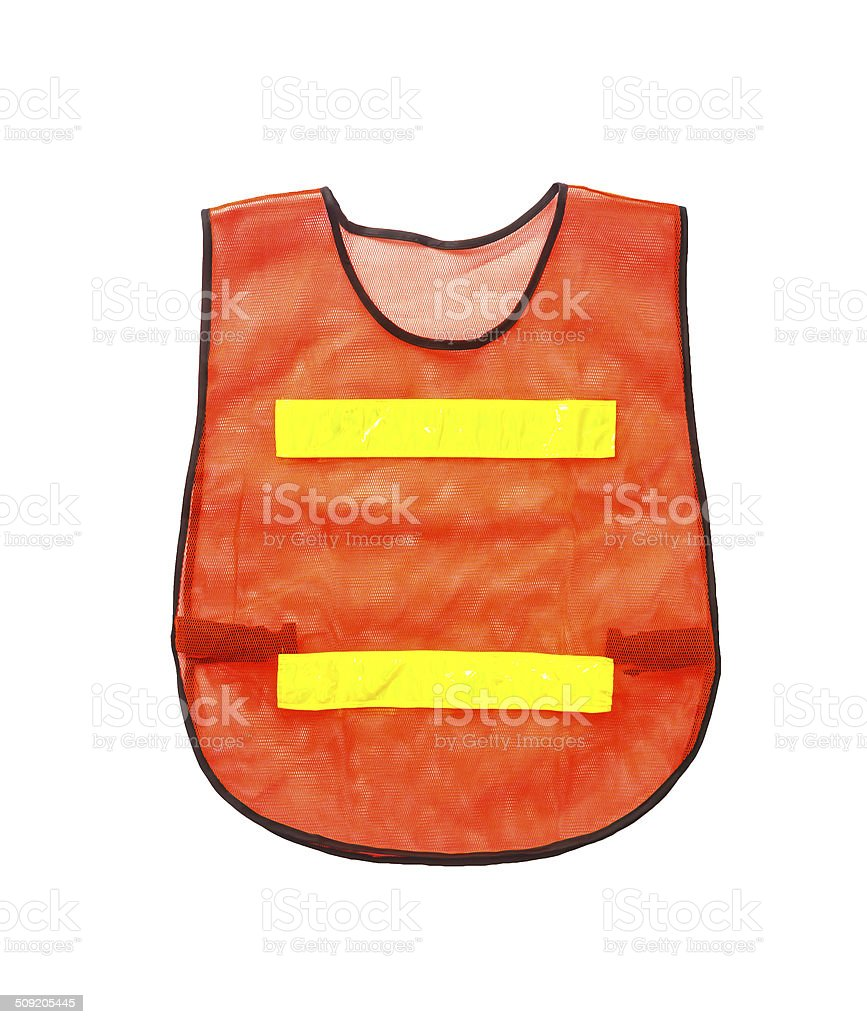 Orange vest, isolated on white and clipping path. stock photo