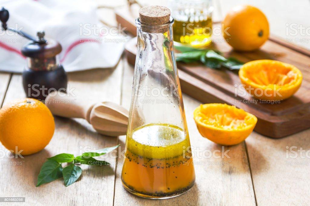 Orange Vinaigrette with Poppy seed stock photo