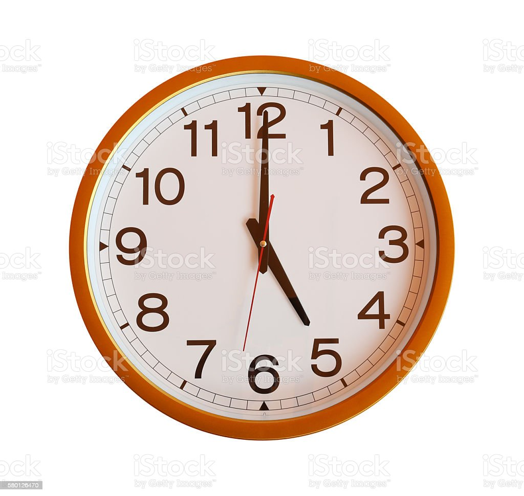 orange wall clock isolated in five o'clock on white background. stock photo