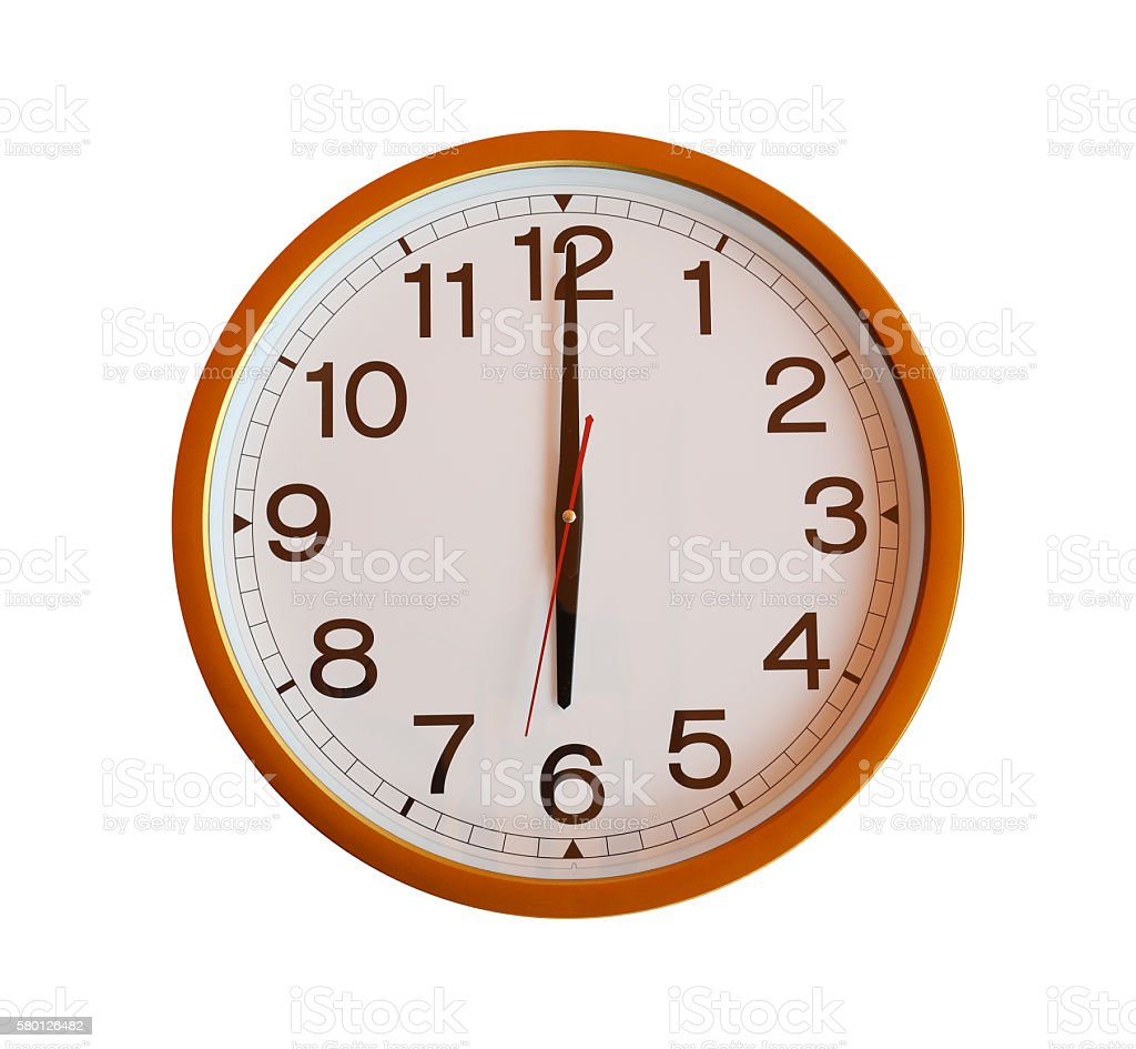 orange wall clock isolated in six o'clock. stock photo